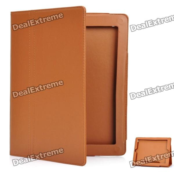 Protective PU Leather Case for iPad 2 / The New iPad - Brown