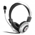 SUOYANA S-521 Adjustable Stereo Headset w/ Volume Control / Microphone - Silver (3.5mm-Plug)