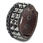 Fashion Punk Style Cowhide Leather Bracelet with Rivets - Grey + Brown