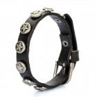 Stylish Leather Bracelet with Five-Pointed Star Ornaments - Black