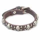 Fashion Cowhide Leather Bracelet - Brown
