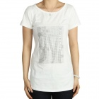 "Women's Short Sleeves Cotton T-Shirt with ""Style"" Image Pattern Decoration Diamond - White (Size L)"