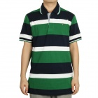 Fashion Horizontal Stripe Short Sleeves Polo Shirt T-Shirt for Men - Green + Black + White (Size L)
