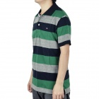 Fashion Horizontal Stripe Short Sleeves T-Shirt for Men - Green + Deep Blue + Grey (Size M)