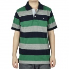 Fashion Horizontal Stripe Short Sleeves T-Shirt for Men - Green + Deep Blue + Grey (Size L)
