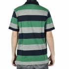 Fashion Horizontal Stripe Short Sleeves T-Shirt for Men - Green + Deep Blue + Grey (Size XL)