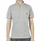 Fashion Short Sleeves Polo Shirt T-Shirt - Light Grey + Red (Size M)
