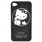 Hello Kitty Pattern Protective Plastic Case w/ LED Flashing Light for iPhone 4 - Black (1 x CR2016)