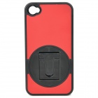 Protective ABS + PC Plastic 360 Degree Rotation Holder Case for Iphone 4 / 4S - Red + Black