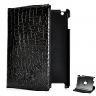 Crocodile Grain Pattern Protective PU Leather Swivel Holder Case for Ipad 2 - Black