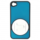 Protective ABS + PC Plastic 360 Degree Rotation Holder Case for Iphone 4/4S - Blue + White + Black