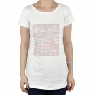 Women's CrystalFashion Short Sleeves Cotton T-Shirt - White (Size L)