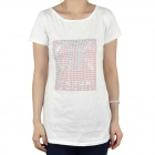 Women's Imitation Diamond Fashion Short Sleeves Cotton T-Shirt - White (Size M)