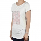 Women's CrystalFashion manches courtes coton T-shirt - Blanc (taille M)
