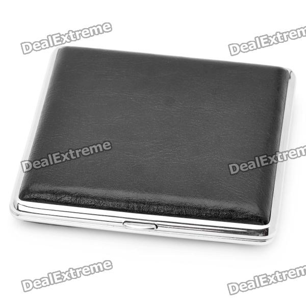 Fashion Cigarette Case - Black + Silver (Holds 20 Cigarettes)