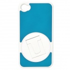 Protective ABS + PC Plastic 360 Degree Rotation Holder Case for Iphone 4 / 4S - Blue + White