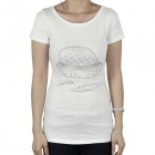 Women's Imitation Diamond Hat Pattern Short Sleeves Cotton T-Shirt - White (Size M)