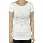 Women's Imitation Diamond Hat Pattern Short Sleeves Cotton T-Shirt - White (Size L)