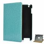Crocodile Grain Pattern Protective PU Leather Swivel Holder Case for Ipad 2 - Sky Blue