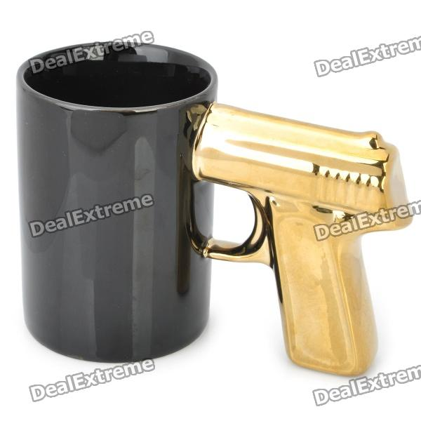 Cool Gun Style Ceramic Whiteware Mug Cup - Black + Golden (400ml) battery power consumption thermochromic ceramic cup black 200ml