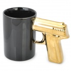 Cool Gun Style Ceramic Whiteware Mug Cup - Black + Golden (400ml)