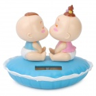 Solar Powered Kiss Baby Head Shaking Desktop Toy - Blue