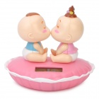 Solar Powered Kiss Baby Head Shaking Desktop Toy - Pink