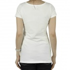 Women's CrystalFlower Pattern manches courtes coton T-shirt - Blanc (taille M)
