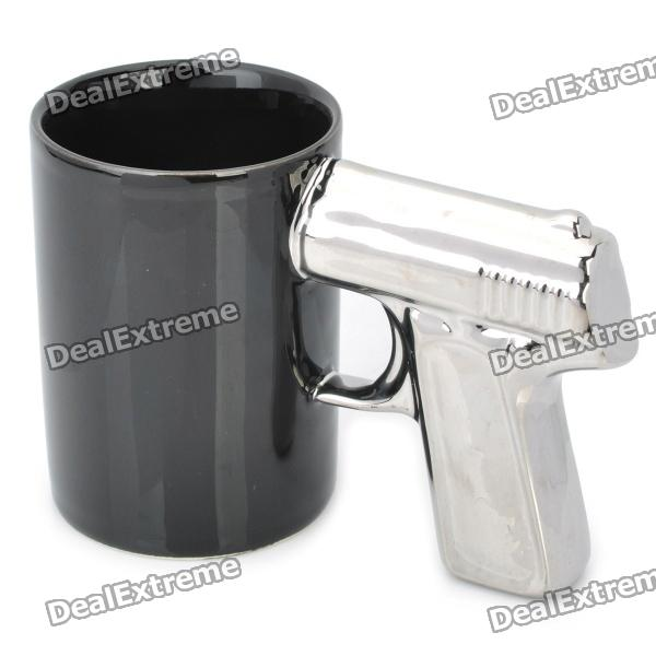 Cool Gun Style Ceramic Whiteware Mug Cup - Black + Silver (400ml)