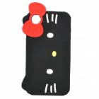 Big Kitty Face Style Protective Silicone Case for iPhone 4 / 4S - Black + White