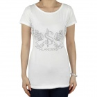 Women's CrystalS Pattern Short Sleeves Cotton T-Shirt - White (Size M)