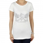 Women's CrystalS Pattern Short Sleeves Cotton T-Shirt - White (Size L)