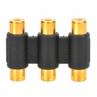 3-RCA Female to Female Adapter - Black + Golden