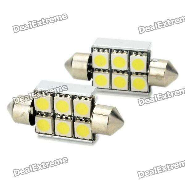 36mm 3W 6x5050SMD LED 6000K 95~98LM White Light Car Lamp with Decoding (DC 12V)