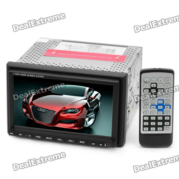 "7.0"" Folding Touch Screen Car DVD Player w/ FM / AM / Analog TV - Black"