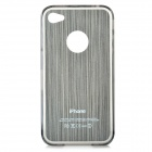 Detachable Protective Plastic Back Case w/ Screen Protector for Iphone 4 / 4S - Silver + Black