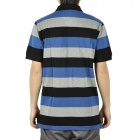 Fashion Horizontal Stripe Short Sleeves Polo Shirt T-Shirt for Men - Blue + Grey + Black (Size M)