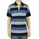 Fashion Horizontal Stripe Short Sleeves Polo Shirt T-Shirt for Men - Blue + Grey + Black (Size L)