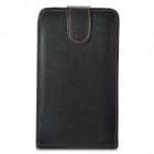 Top Flip Leather + Plastic Case Cover for Samsung Galaxy Note i9220 / GT-N7000 - Black