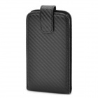 Protective Carbon Fiber Top Flip Case w/ PP Inner Holder for Samsung Galaxy Nexus / i9250 - Black