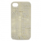 Unique Relief Sculpture Castle Pattern Silicone Case for iPhone 4 / 4S - Beige