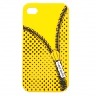 Zip Pattern Protective Silicone Back Case for Iphone 4 / 4S - Yellow