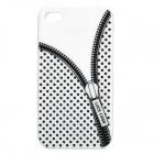 Zip Pattern Protective Silicone Back Case for iPhone 4 / 4S - White