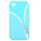 Zip Pattern Protective Silicone Back Case for Iphone 4 / 4S - Blue