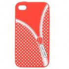 Zip Pattern Protective Silicone Back Case for Iphone 4 / 4S - Red