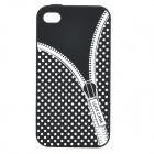 Zip Pattern Protective Silicone Back Case for iPhone 4 / 4S - Black