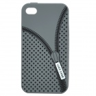 Zip Pattern Protective Silicone Back Case for Iphone 4 / 4S - Grey
