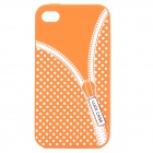 Zip Pattern Protective Silicone Back Case for iPhone 4 / 4S - Orange