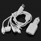 6-in-1 Car Cigarette Powered Charging Adapter Charger for PSP / iPhone / NDSI / NDS / NDSL - White