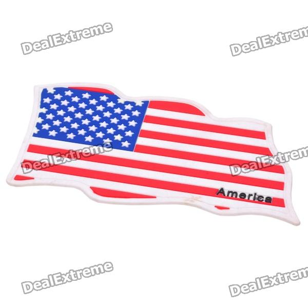 US National Flag Style Vehicle Car Silicone Anti-Slip Mat Pad - Red + White + Blue decorative eagle with us flag style sticker for motorcycle car blue red brown 3 pcs